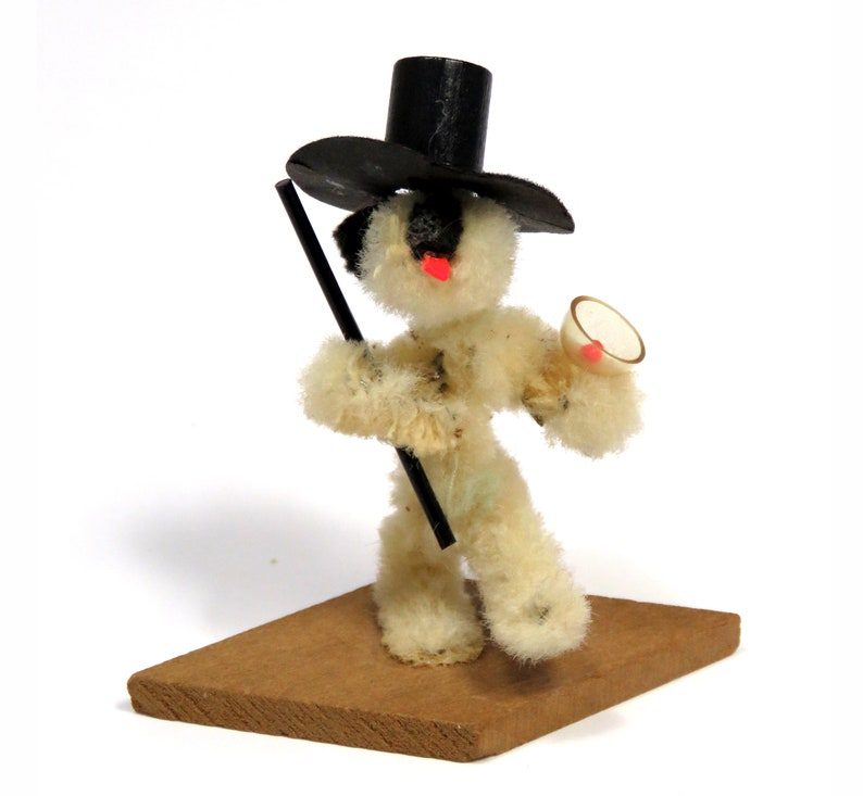 Vintage Chenille Tipsy Dog w Top Hat /& Martini Vintage Cocktail Bar Humor figurine Airedale Puppy Miniature