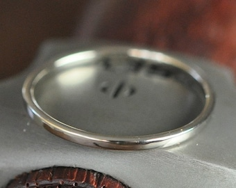 14K Palladium White Gold Wedding Ring, Skinny 1mm Band, Smooth Texture, any size available, Sea Babe Jewelry