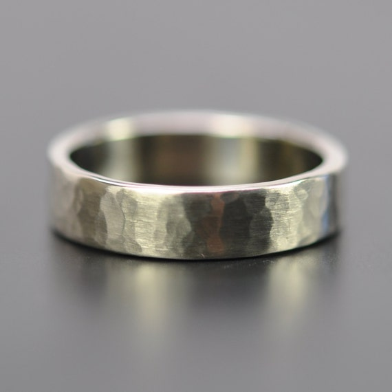 Men S 5mm White Gold Hammered Wedding Band 14k Palladium Etsy