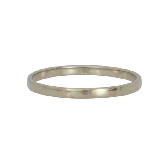 14K Palladium White Gold 2mm Ring Womens Wedding Band Skinny