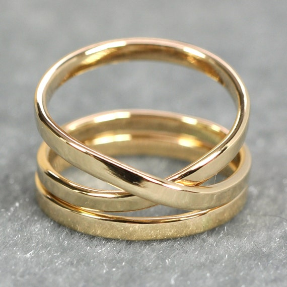 Yellow Gold Ring Solid Gold Infinity Ring Plus One 14k Etsy