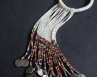Tribal Beaded Waterfall Necklace - White Multi Color