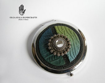 Jeweled Dual Mirror Compact - Blue Green and Black