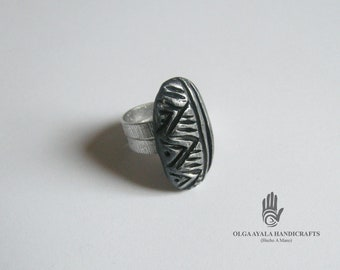 Black Textured Clay Ring - Size 9