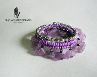 Lavender Wrap Bracelet with Crystal Dangles