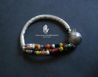 Metal Bar Multi Strand Beaded Bangle Bracelet