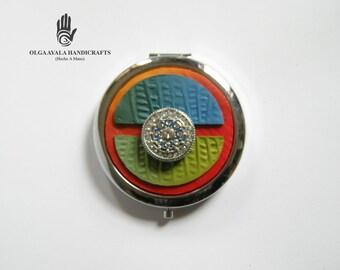 Jeweled Dual Mirror Compact - Blue Green and Orange