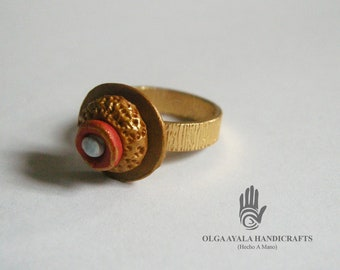 Gold Textured Clay Ring - Size 7