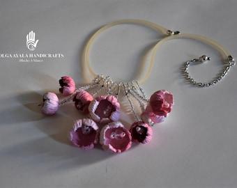 Statement Flower Necklace - Pink