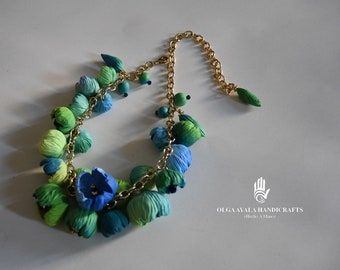 Statement Flower Choker -Green