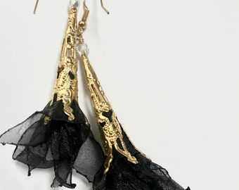 Black organza one of a kind Artisan earrings - designed and handmade in USA by Marianna Mills
