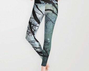 768bf56d54 Starry Night Leggings Trees Yoga Pants Unique Fashion Stars