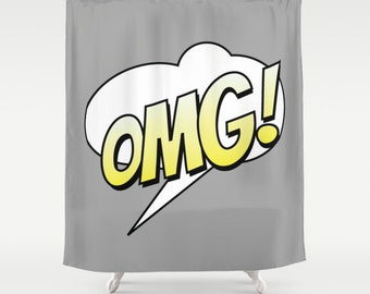 Comic Shower Curtain Grey Bathroom Modern Home Decor Text Bubble Humor Cartoon