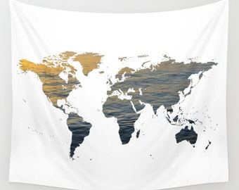 Sea map tapestry etsy world map wall tapestry map large size wall art modern decor outdoor garden beach hut decor sea world tapestry water map dormoffice gumiabroncs Images