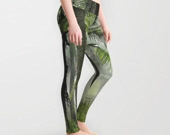 c188c4ed112e4 Palm Trees Leggings, Tropical Yoga Pants, Palm Tree Yoga Leggings, Women,  Teen Active Wear, Running Pants, Jogging, Surf, Green Leggings