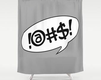 Comic Shower Curtain Grey Bathroom Modern Home Decor Dreamy Text Bubble Humor Cartoon