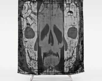Skull Shower Curtain Black Bathroom Halloween Noir Home Decor Goth CurtainSteampunk CurtainSpooky Scary Bw
