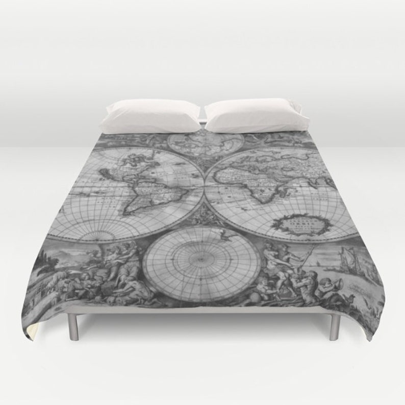 Old World Map Duvet Cover, Vintage World Map Bedding, Map Bedspread Cover,  Greyscale, Black and White, World Map decor, Guest Room, Dorm