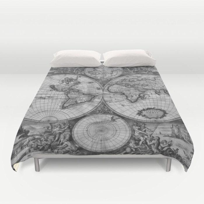 Old World Map Duvet Cover, Vintage World Map Bedding, Map Bedspread ...