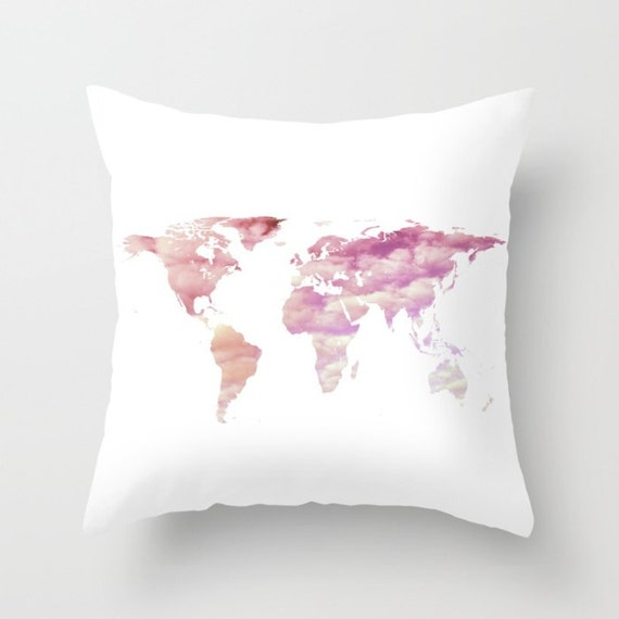 Cotton Candy Sky World Map Pillow, Dorm, Office Map Home Decor, Interior Design, Accent Piece, White Pink Pillow, Office Pillow Case, Cloudy