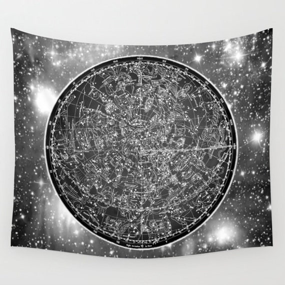 ZODIAC Star Map Tapestry, Vintage Star Map Large Size Wall Art, Astronomy Decor, Office, Dorm, Ancient Map, Astrology,Star Sign, Horoscope