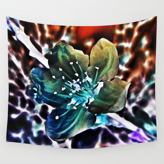 Surreal Cherry Blossom Wall Tapestry, Wall Art, Visionart Art, Modern, Home, Nature, Flower, Contemporary, Dorm, Colorful Wall Art, Bold