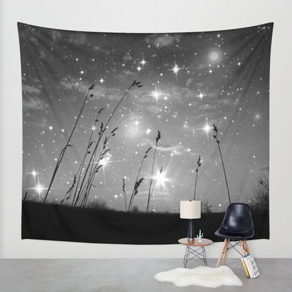Only the stars and me Wall Tapestry, Black and White, office, Night Sky Home Decor Grass Beach Space Nature Tapestry Dorm Privacy Screen