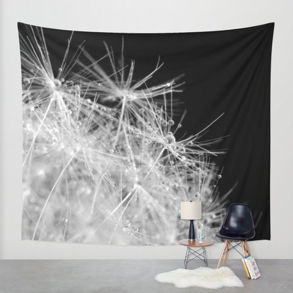 Water drops on Dandelion Wall Tapestry, Black White Wall Art, Drama,Large, Dorm, Office, Fine Art Photography, Nature, Outdoor, Raindrops