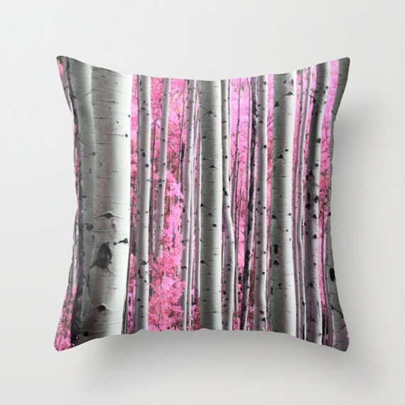 Aspen Tree Throw Pillow, Surreal Forest, Pink Tree, Gray, Pillow Cover, Pink Cushion, Pink Leaf, Office, Woods Pillow, Forest, Dorm, Nature