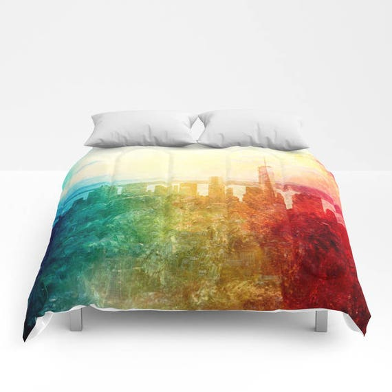 New York Comforter, Abstract Manhattan bedding, unique design, modern, urban, trend, watercolor, bedroom, city landscape bedding, dorm, teen