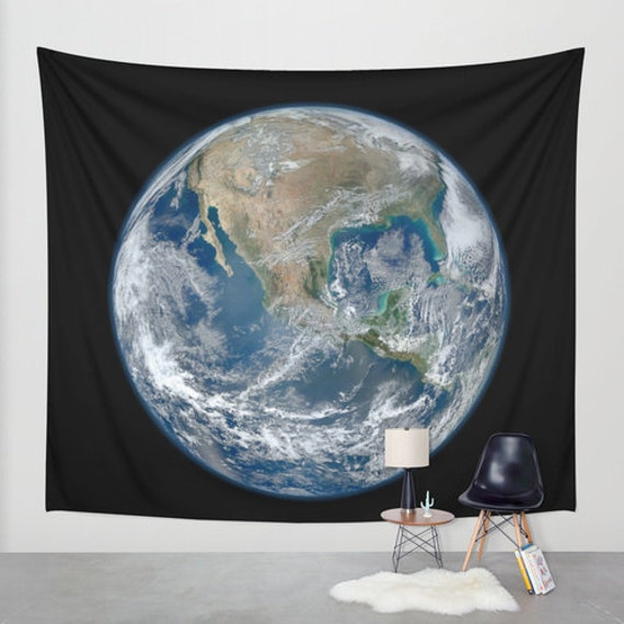 Earth from Space Wall Tapestry, Space Tapestry, World Tapestries, Black, Noir Wall Art, Nature, Home Interior, Ocean Blue, Office, Dorm,Life
