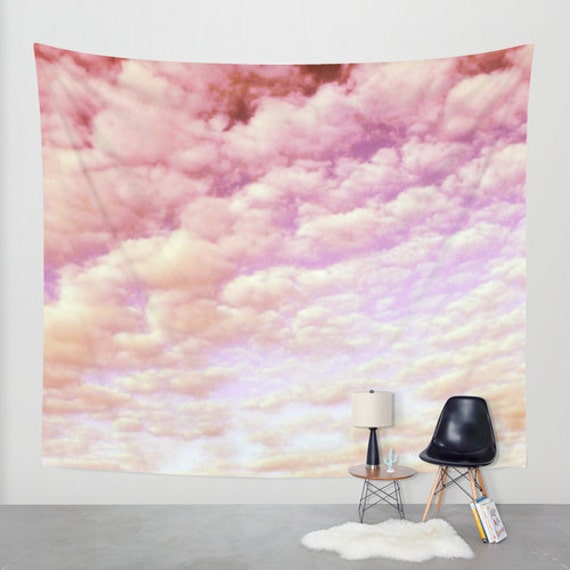 Cotton Candy Sky - Wall Tapestry, modern, home decor, nature, fine art, cloudy sky, inspirational, dreamy, cloud, wedding, dorm, office