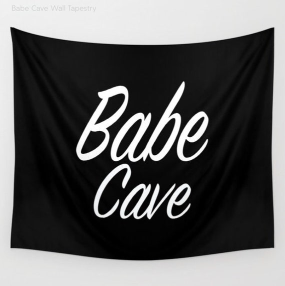 Babe Cave Tapestry, Large Wall Decor, Black and White, Modern Wall Hanging, Dorm Privacy Screen, Contemporary, Happy, Text, Office, Boho