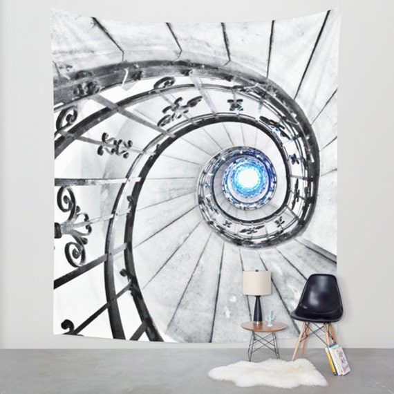 SPIRAL Stairs Tapestry, Staircase Tapestry, Large Wall Decor, Photo Tapestry, Modern Decor, Wall Hanging, Blue Light Tapestries, Dorm,Office