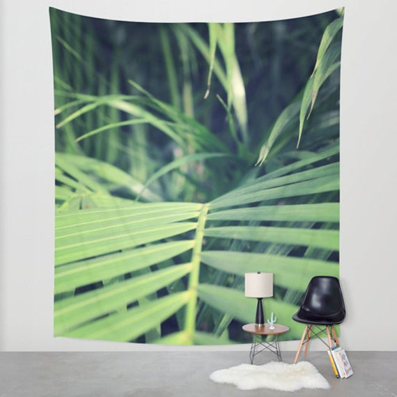 Tropical Palms Wall Tapestry, Palm Trees Large Size Wall Art, Fine Art Photography, Modern Decor, Nature,Beach Hut Decor, Jungle Palms, Dorm