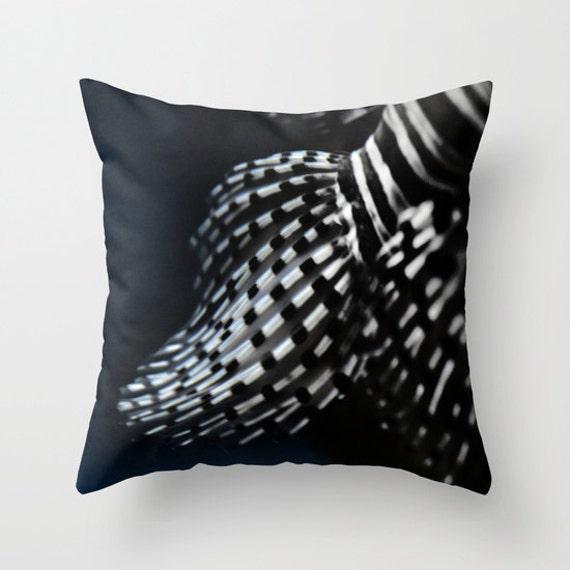 Photo pillow, Red Lionfish Fins Decorative Throw Pillow cover, Cushion, Office, Ocean, dorm decor, black white, fish, nautical, nature, noir