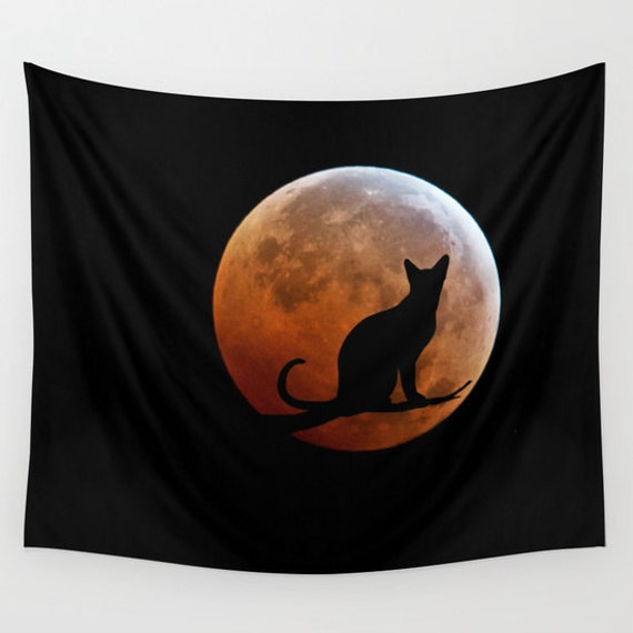 Cat and Blood Full Moon Wall Tapestry, Super moon, Halloween, Fantasy, Black, Noir Wall Art, Surreal, Lunar Eclipse, Nature, Dorm, Office