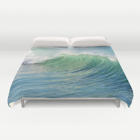 Ocean Duvet Cover, Waves Decorative bedding, unique design, Nautical blanket cover, Aqua Blue bedroom, Beach, Surf,Water,Ocean Blue, Green