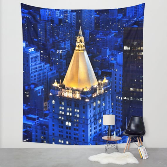 New York Life Building Wall Tapestry, Photography, Urban Wall Art, Modern, Blue Tapestry, Outdoor, Office, Dorm Privacy Screen,City Rooftops