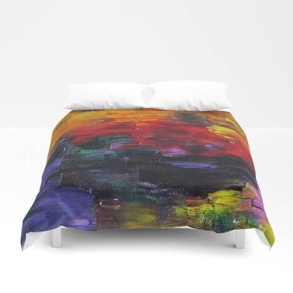 African Sunset Duvet Cover, Painting, Abstract, Made to Order, Decorative, Bedding, Unique Design, Modern, Earthy colors, Bedroom, Dorm