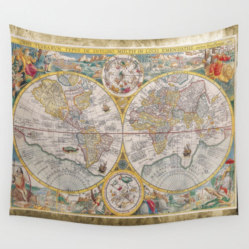 aeb198c93e Old World Map Wall Tapestry Vintage Map Large Size Wall Art