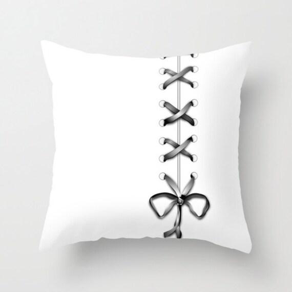 White Throw Pillow, Gray Ribbon print Pillow, Gray Laces Pillow, Decorative Pillow Cover, Boudoir Home Decor, Office, Dorm, Cute Pillow