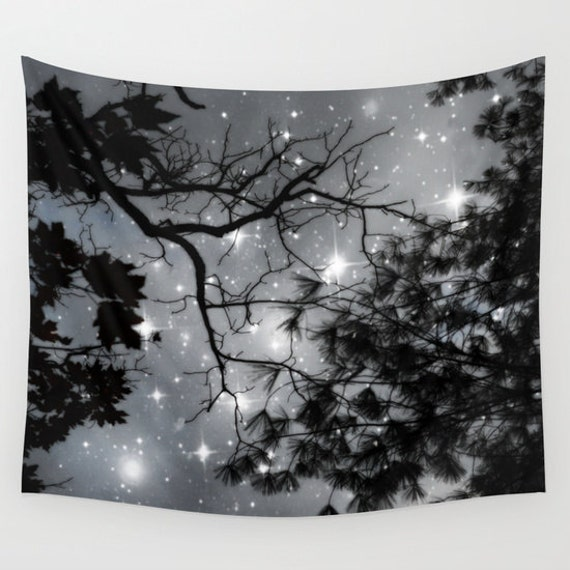Trees Wall Tapestry, Stars Tapestry, Night Sky Home Decor, Nature Tapestry, Dorm, Office , Home Decor, Whimsical, Tree Branches, Woodland
