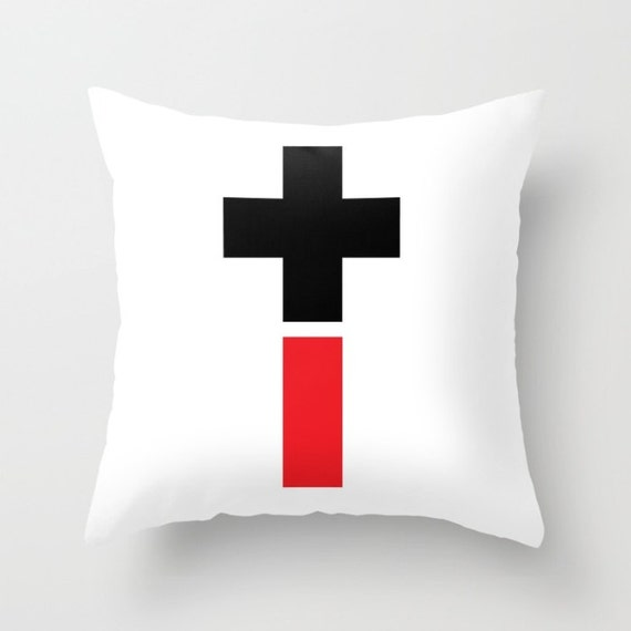 Positive And Negative Cross Throw Pillow, Black Red Pillow, Decorative Pillow Cover, Modern Home Decor, Symbolic, Dorm Pillow, Office pillow