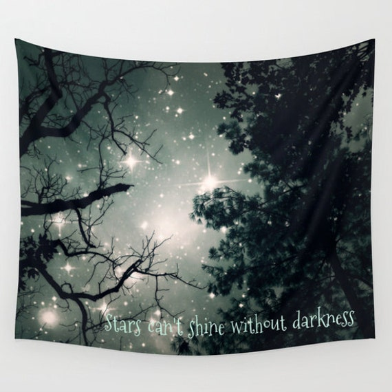 Trees Wall Tapestry, Stars Tapestry, Night Sky Home Decor, Nature Tapestry, Office Tapestry, Home Decor, Dorm, Tree Branches, Woodland,Text