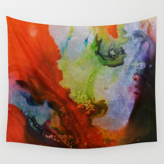 LUCID DREAM Wall Tapestry, Visionary Tapestry, Contemporary Home Decor, Modern, Office, Blood Red, Grass Green, Dorm, Vivid Colors