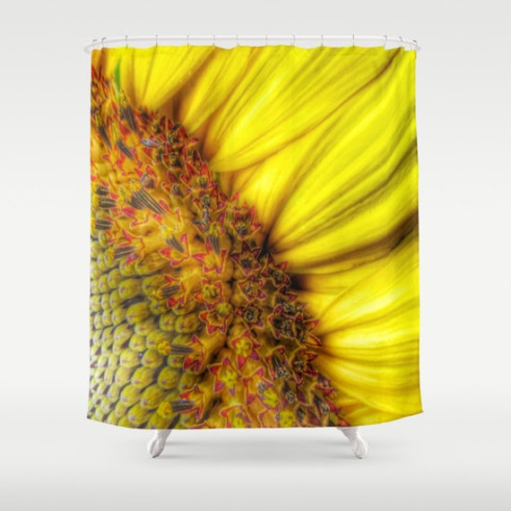 Sunflower Shower Curtain, Yellow Bathroom, Sunflower Home Decor, Whimsy Photo Shower Curtain, Nature, Decor, Vibrant, Bold, Flower, floral