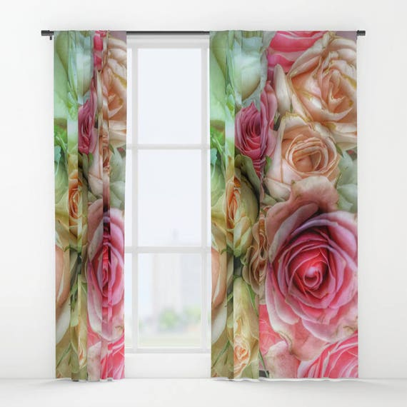 Roses Window Curtain, Flower Curtain, Decorative, Unique Design, Nature Decor, Office Window Curtain, Dorm, Campus, Boudoir, Wedding Gift