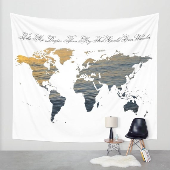 World Map Wall Tapestry, Map Large Size Wall Art, Modern Decor, Outdoor, Garden, Beach Hut Decor, Sea World, Dorm, Office,Water Map tapestry