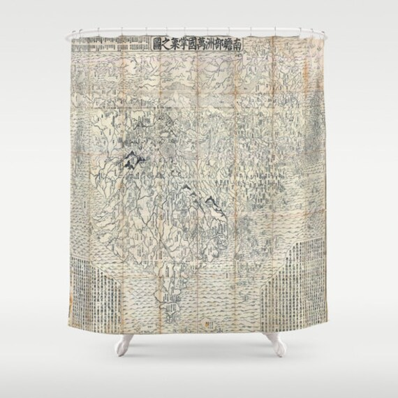 Old Japanese Buddhist World Map Shower Curtain, Vintage World Map Shower Curtain, Bathroom,World Map Home Decor,Asian Text,Vintage Map, Dorm